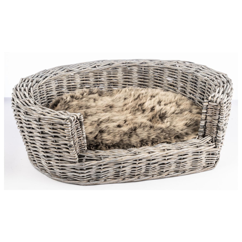 Adori Rieten Mand Met Kussen Grey Wash - Hondenmand - 92x23x73 cm